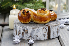 Traditional swedish buns in christmas setting Royalty Free Stock Image