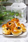 Traditional swedish buns in christmas setting stock image