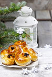 Traditional swedish buns in christmas setting Royalty Free Stock Photo