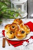 Traditional swedish buns in christmas setting Stock Photos