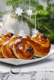 Traditional swedish buns in christmas setting Stock Photo