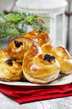 Traditional swedish buns in christmas setting. Stock Images