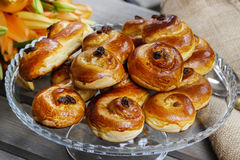 Traditional swedish buns. A saffron bun royalty free stock images