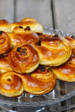 Traditional swedish buns. A saffron bun Stock Images