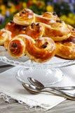 Traditional swedish buns. A saffron bun Royalty Free Stock Photo