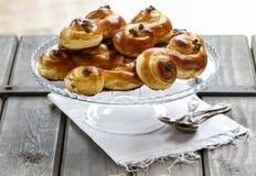 Traditional swedish buns. A saffron bun Royalty Free Stock Image
