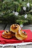 Traditional swedish buns. A saffron bun Stock Photos