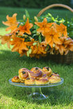 Traditional swedish buns. A saffron bun Stock Images