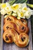 Traditional swedish buns. A saffron bun, in Swedish lussebulle Stock Image