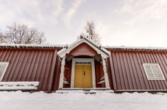 Traditional Swedish Farm House in Winter Stock Photos