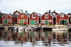 A traditional Swedish Fishing Village on the Baltic Coast Stock Photos