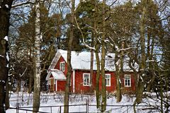 Traditional swedish house in Skansen, Stockholm Royalty Free Stock Images