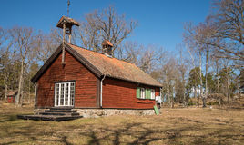 Traditional swedish house. View on a traditional swedish cottage on a country side royalty free stock image