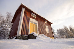 Traditional Swedish House in Winter Stock Photography
