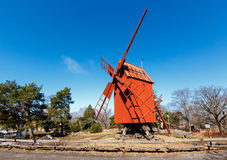 Traditional Swedish Windmill in Skansen National Park, Stockholm Royalty Free Stock Images
