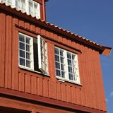 Traditional Swedish wooden facade Stock Photography