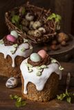 Traditional sweet Easter cakes with icing royalty free stock images