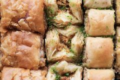 Traditional sweet oriental dessert, oriental sweets close-up, baklava royalty free stock photography