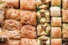 Traditional sweet oriental dessert, oriental sweets close-up, baklava stock image