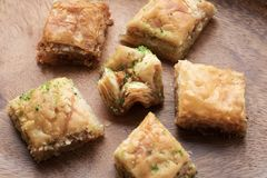 Traditional sweet oriental dessert, oriental sweets close-up, baklava royalty free stock images