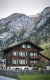 Traditional swiss alps houses in vals village alpine switzerland Royalty Free Stock Photography
