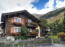 Traditional swiss alps houses in vals village alpine switzerland Stock Photos