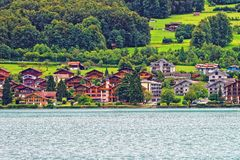 Chalets at Lake Brienz and Brienzer Rothorn mountain Bern Switzerland Stock Images