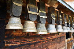 Traditional Swiss cowbells stock image