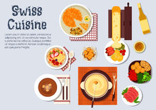 Traditional swiss cuisine dinner dishes vector illustration