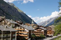 Traditional Swiss Hotels Royalty Free Stock Images