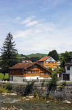 Traditional Swiss houses. Traditional houses and countryside in Switzerland Royalty Free Stock Photography