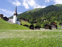 Traditional Swiss village. Traditional, old village in the Wallis, Switzerland Royalty Free Stock Photography