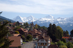Traditional swiss village view Royalty Free Stock Image