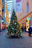 Traditional symbol of Christmas - beautifully decorated Christma. RIGA, LATVIA - DECEMBER 28, 2014: Traditional symbol of Christmas - beautifully decorated Stock Photography