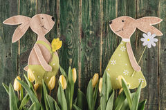 Traditional symbol of spring season like yellow tulips and bunny on wooden background, happy easter time Stock Image