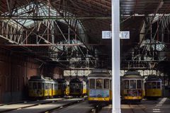 Traditional symbol trams in stand in carpark Royalty Free Stock Image