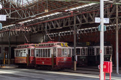 Traditional symbol trams in stand in carpark Stock Photos