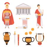 Traditional symbols of ancient Roman Empire set vector Illustrations on a white background. Traditional symbols of ancient Roman Empire set vector Illustrations vector illustration