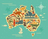 Stylized map of Australia with the symbols of Australian culture and nature. Traditional symbols of Australian culture and nature in the form of maps Royalty Free Stock Images