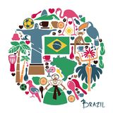 Brazilian icons in the form of a circle Royalty Free Stock Photography