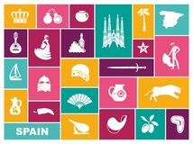 Traditional symbols of Spain. Flat vector icons