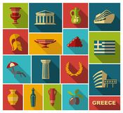 Traditional symbols of Greece. Flat vector illustration Royalty Free Stock Photography