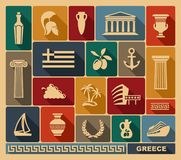 Greece icons. Vector illustration. Traditional symbols of Greece. Vector flat illustration Royalty Free Stock Photography