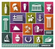 Greece icons. Vector illustration. Traditional symbols of Greece. Vector flat illustration Stock Image