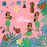 Traditional symbols of Hawaiian culture set, hibiscus flower, girls dancing hula and playing ukuleles, islands, volan, butterflies stock illustration