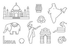 Traditional symbols of India. Contour icons Royalty Free Stock Images