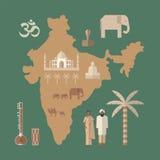 Traditional symbols of India. Flat icon Stock Image