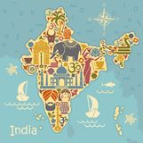 Traditional symbols of India in the form of a stilized map. Map of India with icons. Traditional symbols of culture and architecture of India Royalty Free Stock Photo