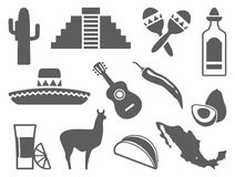Traditional symbols of Mexico. Vector icons Royalty Free Stock Photo