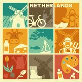 Traditional symbols of the Netherlands. Vector illustration Stock Photo